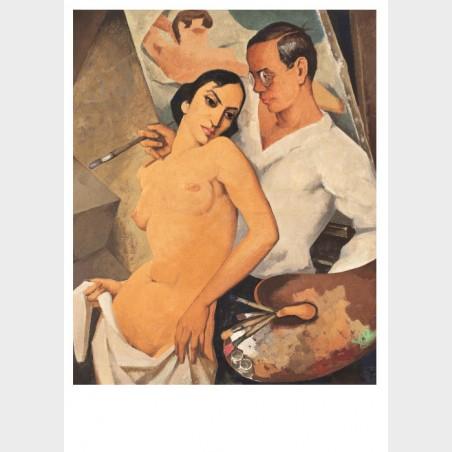 Pocztówka – Georg Paul Heyduck, Autoportret z modelką
