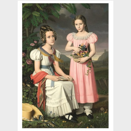 Pocztówka – Bernhard Peter Rausch Portret dwóch dziewcząt