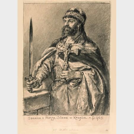 Pocztówka – Jan Matejko Mieszko I (z cyklu Poczet królów...