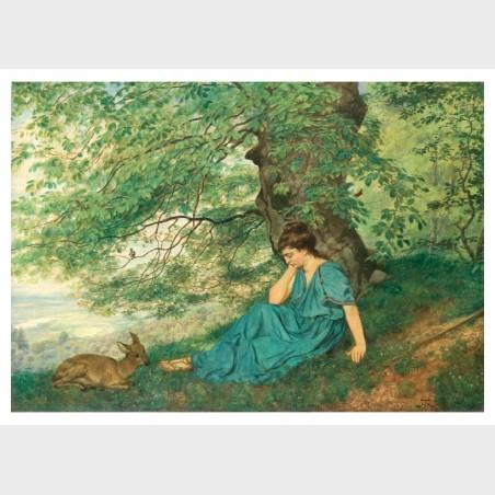 Pocztówka – Hans Thoma, Diana pod drzewem