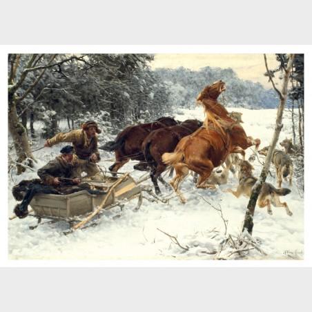 Pocztówka – Alfred Wierusz Kowalski, Napad wilków