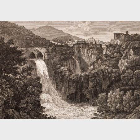 Pocztówka – Gaetano Cottafavi, Wodospad na rzece Aniene koło...