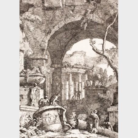 Pocztówka – Marco Ricci, Ruiny antycznych budynków z posągiem...