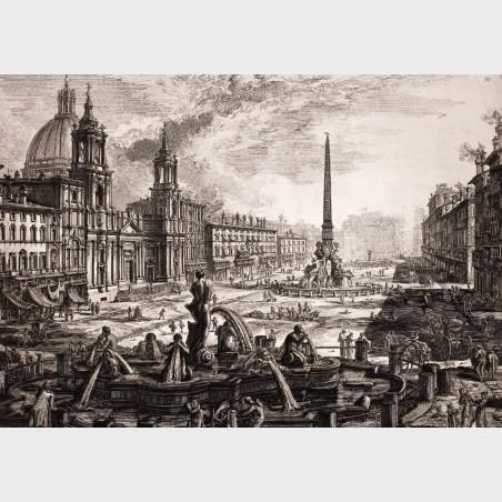 Pocztówka – Giovanni Battista Piranesi, Rzym – Piazza Navona