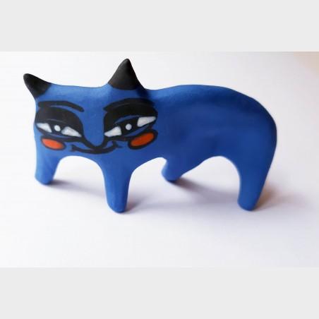Figurka ceramiczna Kot granatowy - Janina Myronova